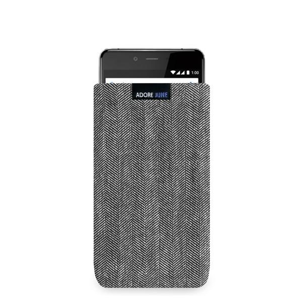 Das Bild zeigt die Vorderseite von Business Tasche für OnePlus X in Farbe Grau / Schwarz; Zur Veranschaulichung wird ebenfalls dargestellt, wie das kompatible Gerät in dieser Tasche aussieht