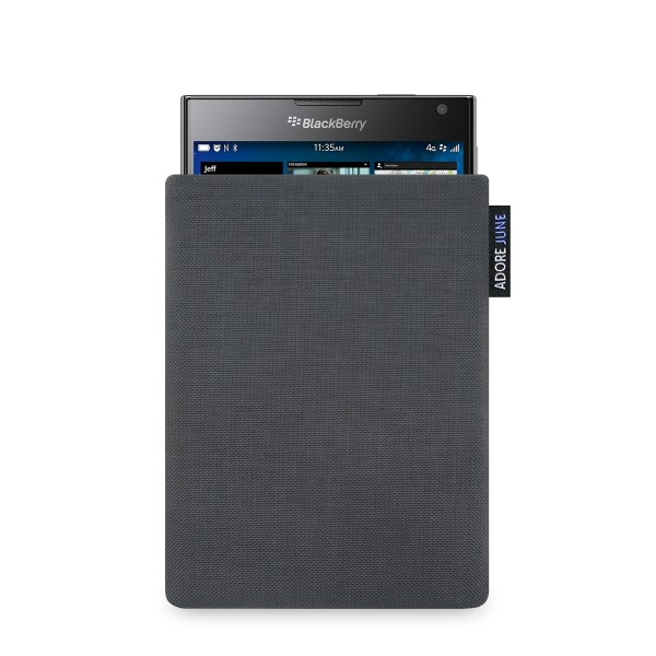 The picture shows the front of Classic Sleeve for BlackBerry Passport in color Dark Grey; As an illustration, it also shows what the compatible device looks like in this bag