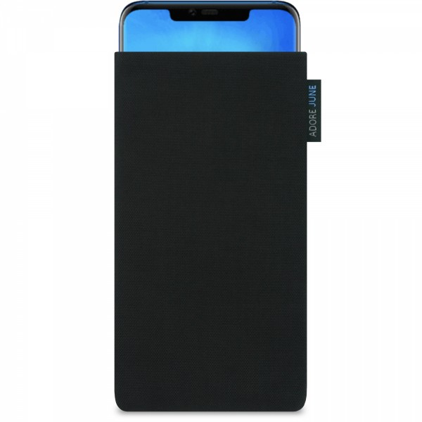 The picture shows the front of Classic Sleeve for Huawei Mate 20 Pro in color Black; As an illustration, it also shows what the compatible device looks like in this bag