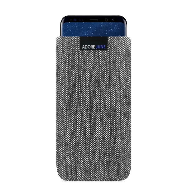 The picture shows the front of Business Sleeve for Samsung Galaxy S8 in color Grey / Black; As an illustration, it also shows what the compatible device looks like in this bag