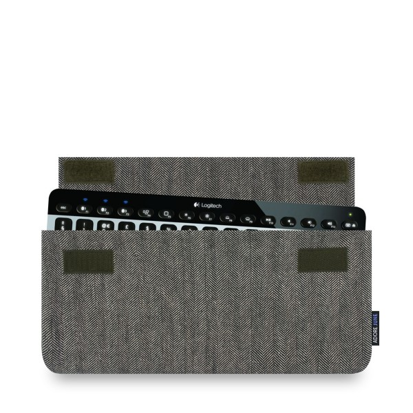 The picture shows the front of Keeb Business Sleeve for Logitech K810 and K811 in color Grey / Black; As an illustration, it also shows what the compatible device looks like in this bag