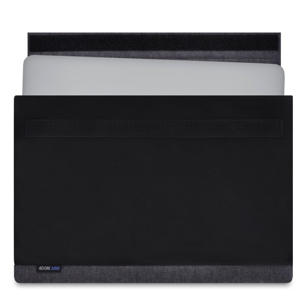 The picture shows the front of Bold Sleeve for Apple MacBook Pro 13 and MacBook Air 13 in color Grey / Black; As an illustration, it also shows what the compatible device looks like in this bag