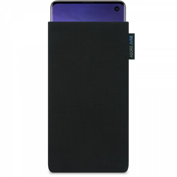 The picture shows the front of Classic Sleeve for Samsung Galaxy S10 in color Black; As an illustration, it also shows what the compatible device looks like in this bag