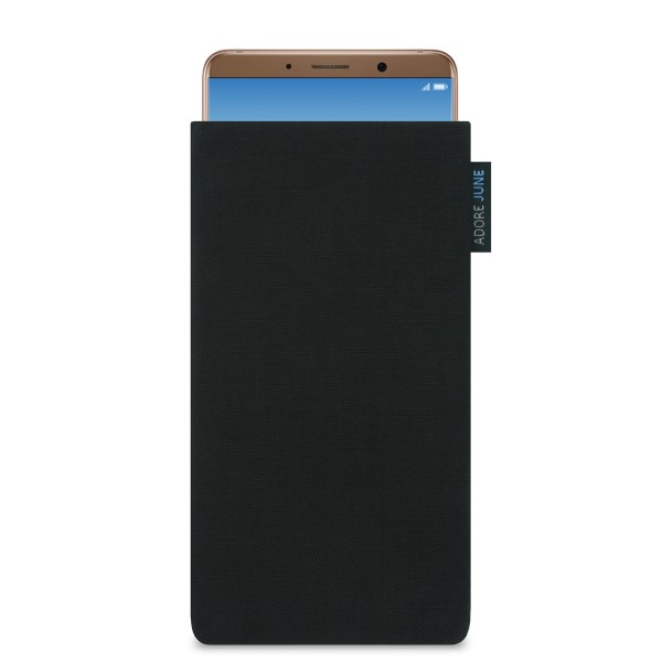 The picture shows the front of Classic Sleeve for Huawei Mate 10 Pro in color Black; As an illustration, it also shows what the compatible device looks like in this bag