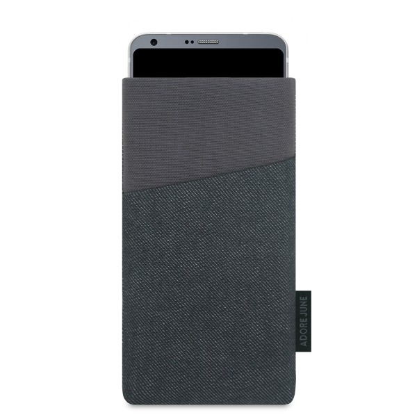 The picture shows the front of Clive Sleeve for LG G6 in color Black / Grey; As an illustration, it also shows what the compatible device looks like in this bag