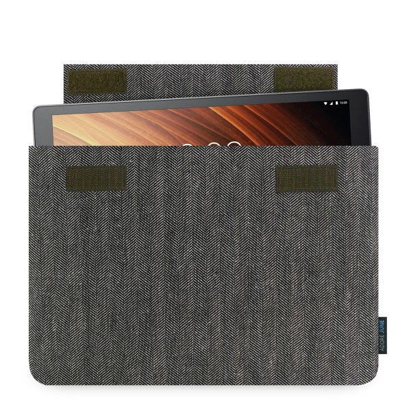 The picture shows the front of Business Sleeve for Lenovo Yoga Tab 3 Plus in color Grey / Black; As an illustration, it also shows what the compatible device looks like in this bag