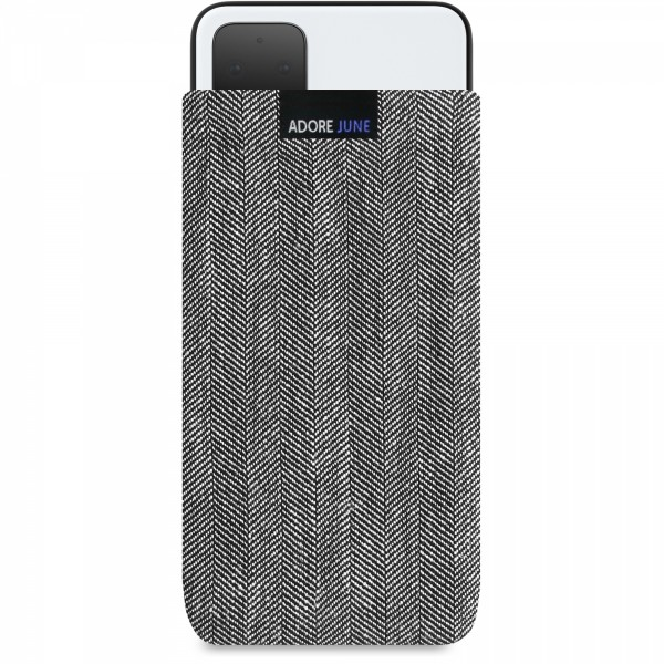The picture shows the front of Business Sleeve for Google Pixel 4 XL in color Grey / Black; As an illustration, it also shows what the compatible device looks like in this bag