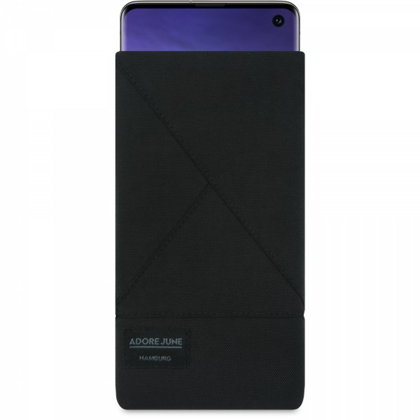 The picture shows the front of Triangle Sleeve for Samsung Galaxy S10 in color Black; As an illustration, it also shows what the compatible device looks like in this bag