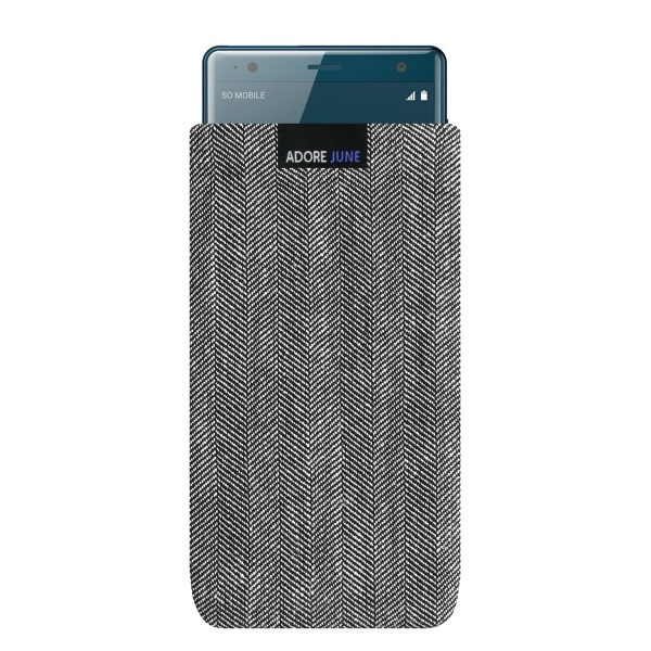 The picture shows the front of Business Sleeve for Sony Xperia XZ2 in color Grey / Black; As an illustration, it also shows what the compatible device looks like in this bag