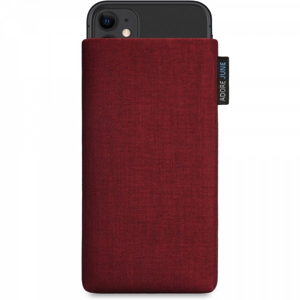The picture shows the front of Classic Sleeve for Apple iPhone 11 in color Bordeaux Red; As an illustration, it also shows what the compatible device looks like in this bag