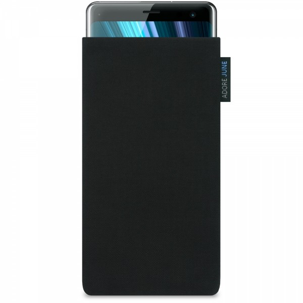 The picture shows the front of Classic Sleeve for Sony Xperia XZ3 in color Black; As an illustration, it also shows what the compatible device looks like in this bag