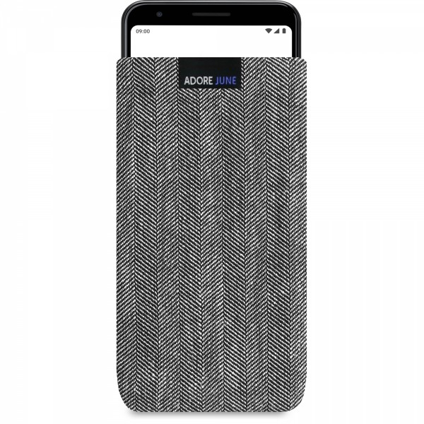 The picture shows the front of Business Sleeve for Google Pixel 3a XL in color Grey / Black; As an illustration, it also shows what the compatible device looks like in this bag
