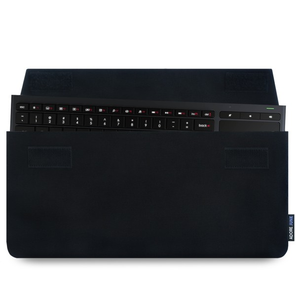 The picture shows the front of Keeb Sleeve for Logitech Illuminated Living-Room Keyboard K830 in color Black; As an illustration, it also shows what the compatible device looks like in this bag