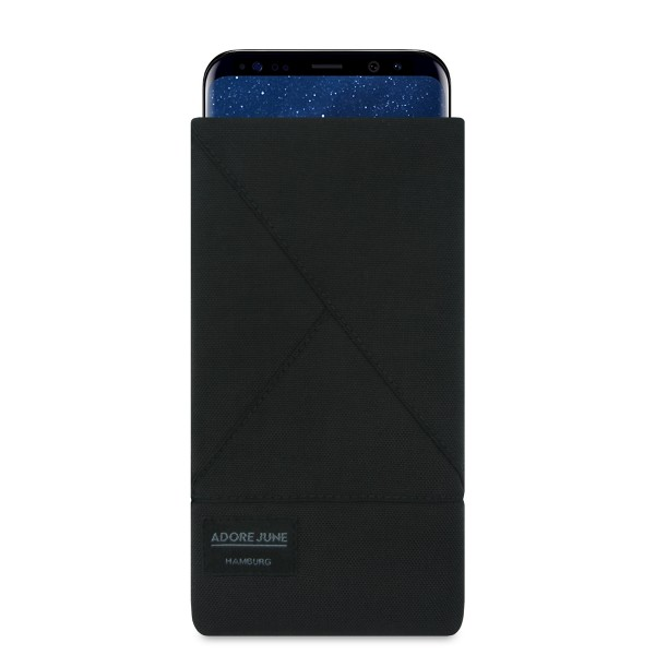 The picture shows the front of Triangle Sleeve for Samsung Galaxy S8 Plus in color Black; As an illustration, it also shows what the compatible device looks like in this bag