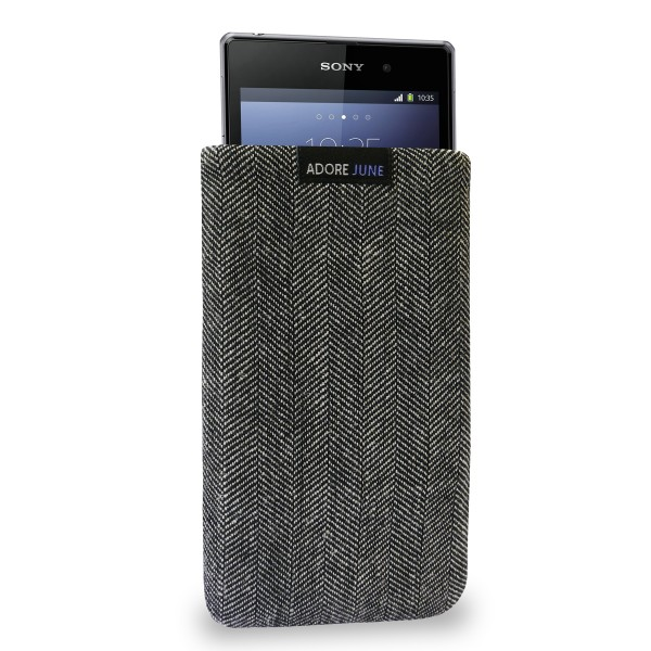 The picture shows the front of Business Sleeve for Sony Xperia Z1 in color Grey / Black; As an illustration, it also shows what the compatible device looks like in this bag
