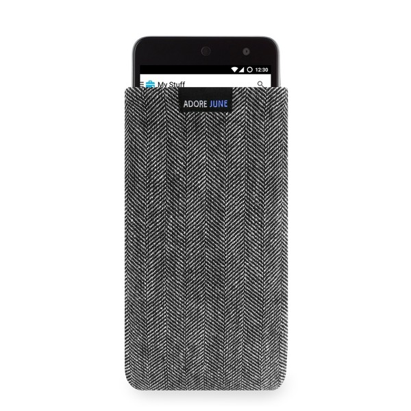 The picture shows the front of Business Sleeve for Wileyfox Swift in color Grey / Black; As an illustration, it also shows what the compatible device looks like in this bag