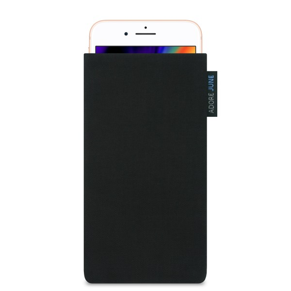 The picture shows the front of Classic Sleeve for Apple iPhone 8 in color Black; As an illustration, it also shows what the compatible device looks like in this bag