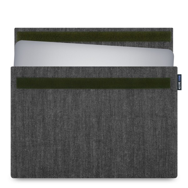 The picture shows the front of Business Sleeve for Dell XPS 15 in color Grey / Black; As an illustration, it also shows what the compatible device looks like in this bag
