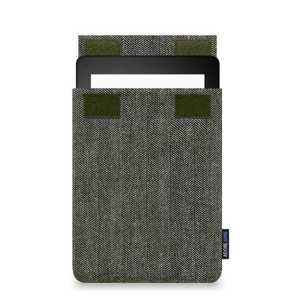 The picture shows the front of Business Sleeve for Kindle Voyage in color Grey / Black; As an illustration, it also shows what the compatible device looks like in this bag