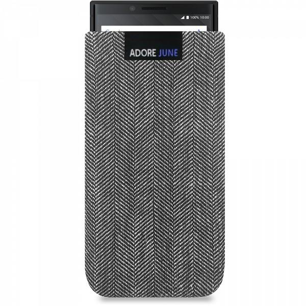 Das Bild zeigt die Vorderseite von Business Tasche für BlackBerry Key2 und Key2 LE in Farbe Grau / Schwarz; Zur Veranschaulichung wird ebenfalls dargestellt, wie das kompatible Gerät in dieser Tasche aussieht