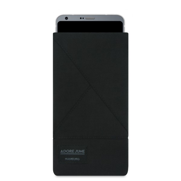 The picture shows the front of Triangle Sleeve for LG G6 in color Black; As an illustration, it also shows what the compatible device looks like in this bag