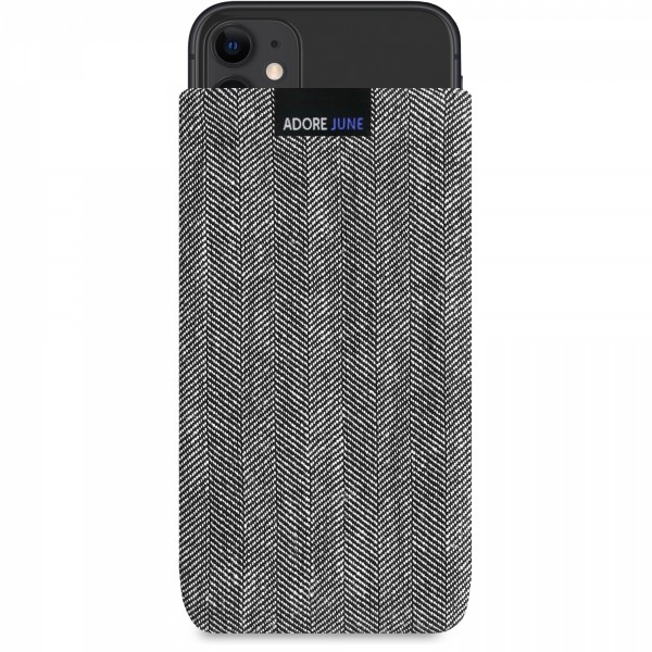 The picture shows the front of Business Sleeve for Apple iPhone 11 in color Grey / Black; As an illustration, it also shows what the compatible device looks like in this bag