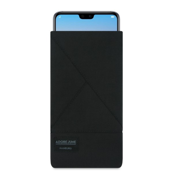 The picture shows the front of Triangle Sleeve for Huawei P20 PRO in color Black; As an illustration, it also shows what the compatible device looks like in this bag