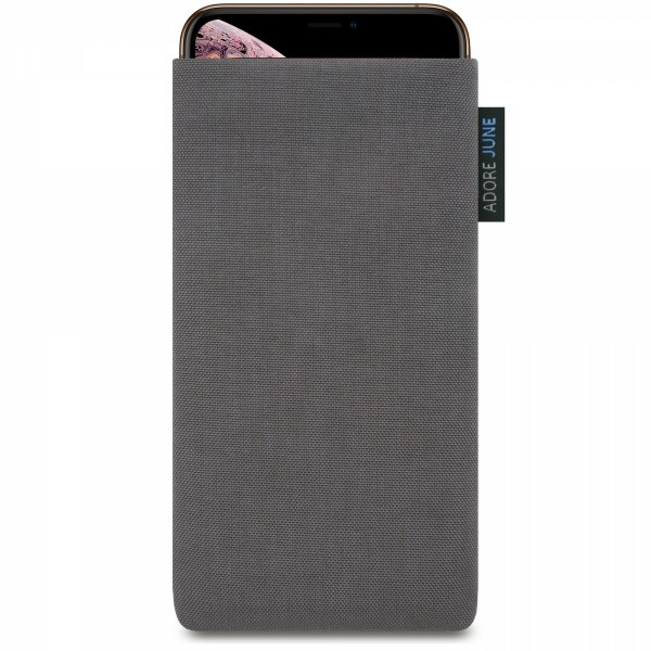 The picture shows the front of Classic Sleeve for Apple iPhone Xs Max in color Dark Grey; As an illustration, it also shows what the compatible device looks like in this bag