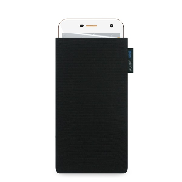 The picture shows the front of Classic Sleeve for Wileyfox Spark and Wileyfox Spark Plus in color Black; As an illustration, it also shows what the compatible device looks like in this bag