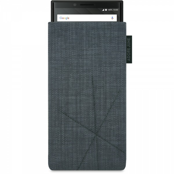 The picture shows the front of Axis Sleeve for BlackBerry Key2 and Key2 LE with Retract Function in color Dark Grey; As an illustration, it also shows what the compatible device looks like in this bag