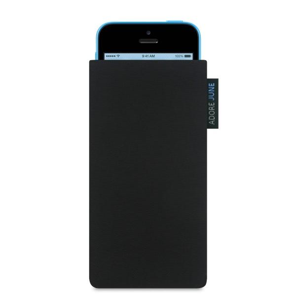 Das Bild zeigt die Vorderseite von Classic Tasche für Apple iPhone 5c in Farbe Schwarz; Zur Veranschaulichung wird ebenfalls dargestellt, wie das kompatible Gerät in dieser Tasche aussieht