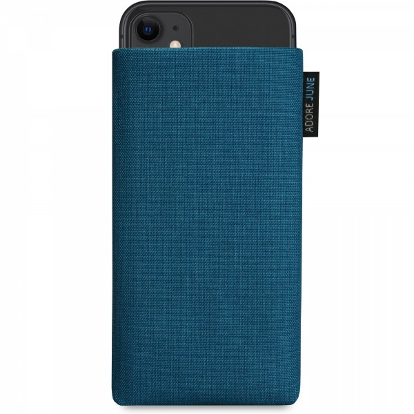 The picture shows the front of Classic Sleeve for Apple iPhone 11 in color Water-Blue; As an illustration, it also shows what the compatible device looks like in this bag