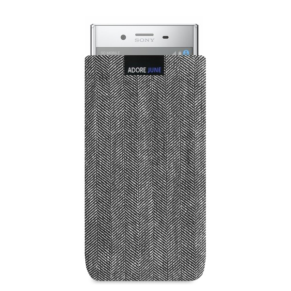 The picture shows the front of Business Sleeve for Sony Xperia XZ Premium in color Grey / Black; As an illustration, it also shows what the compatible device looks like in this bag