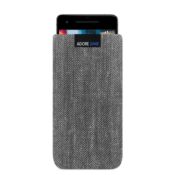 The picture shows the front of Business Sleeve for Google Pixel 2 in color Grey / Black; As an illustration, it also shows what the compatible device looks like in this bag