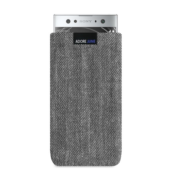 The picture shows the front of Business Sleeve for Sony Xperia XA2 Ultra in color Grey / Black; As an illustration, it also shows what the compatible device looks like in this bag