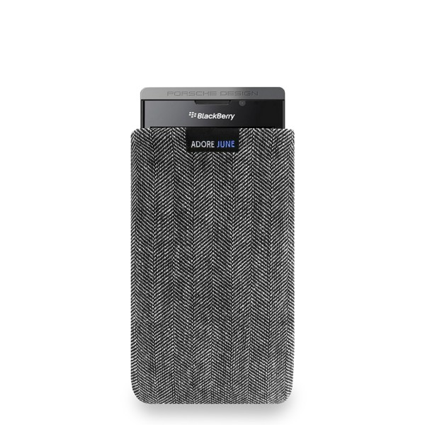 The picture shows the front of Business Sleeve for BlackBerry Porsche Design P9983 in color Grey / Black; As an illustration, it also shows what the compatible device looks like in this bag