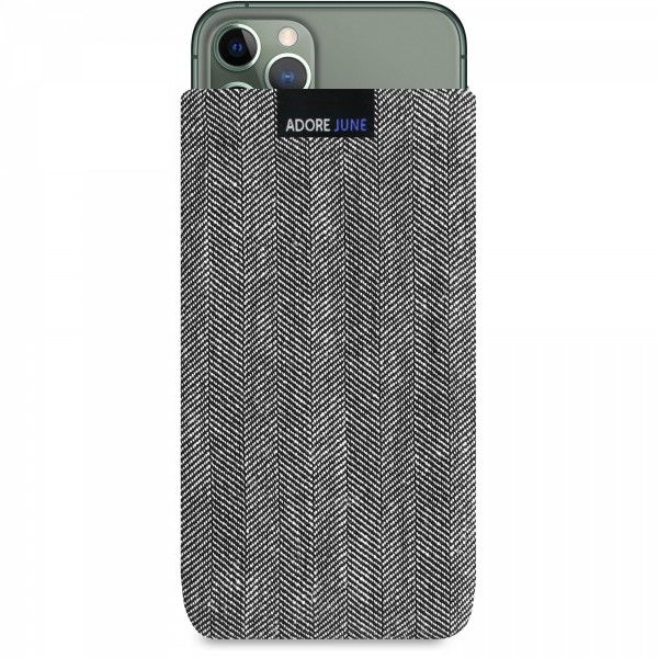 The picture shows the front of Business Sleeve for Apple iPhone 11 Pro in color Grey / Black; As an illustration, it also shows what the compatible device looks like in this bag