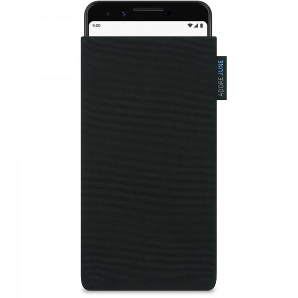 The picture shows the front of Classic Sleeve for Google Pixel 3 in color Black; As an illustration, it also shows what the compatible device looks like in this bag