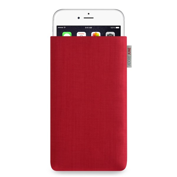 The picture shows the front of Classic Sleeve for Apple iPhone 6 Plus 6S Plus and iPhone 7 Plus in color Red; As an illustration, it also shows what the compatible device looks like in this bag