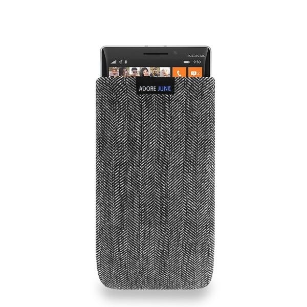 The picture shows the front of Business Sleeve for Nokia Lumia 930 in color Grey / Black; As an illustration, it also shows what the compatible device looks like in this bag