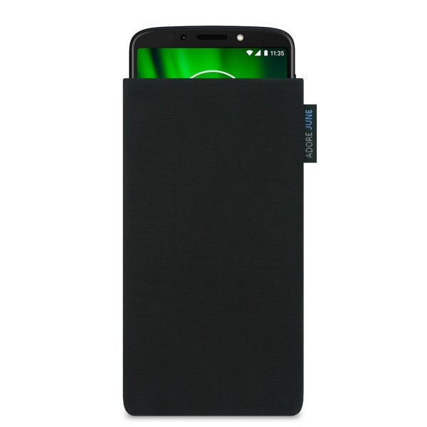 The picture shows the front of Classic Sleeve for Motorola Moto G6 Play in color Black; As an illustration, it also shows what the compatible device looks like in this bag