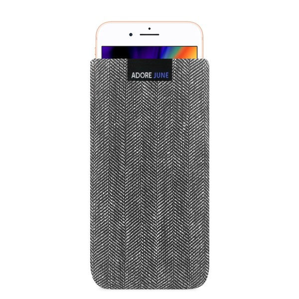 The picture shows the front of Business Sleeve for Apple iPhone 8 in color Grey / Black; As an illustration, it also shows what the compatible device looks like in this bag