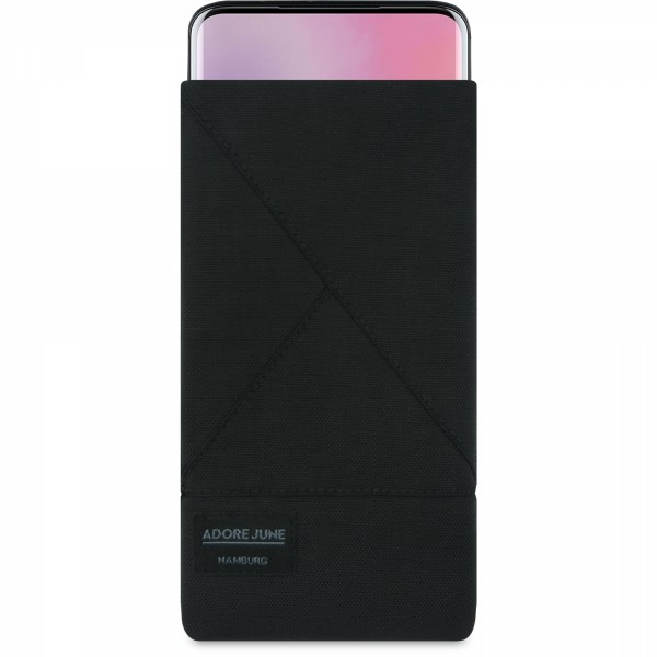 The picture shows the front of Triangle Sleeve for OnePlus 7 Pro and OnePlus 7T Pro in color Black; As an illustration, it also shows what the compatible device looks like in this bag