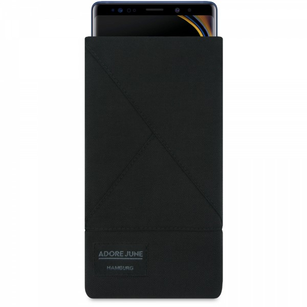 The picture shows the front of Triangle Sleeve for Samsung Galaxy Note 9 in color Black; As an illustration, it also shows what the compatible device looks like in this bag