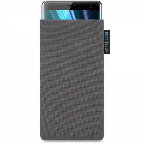 Das Bild zeigt die Vorderseite von Classic Tasche für Sony Xperia XZ3 in Farbe Dunkelgrau; Zur Veranschaulichung wird ebenfalls dargestellt, wie das kompatible Gerät in dieser Tasche aussieht