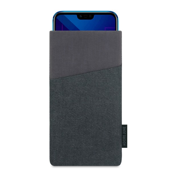 The picture shows the front of Clive Sleeve for Honor 10 in color Black / Grey; As an illustration, it also shows what the compatible device looks like in this bag