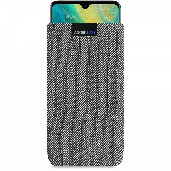The picture shows the front of Business Sleeve for Huawei Mate 20 in color Grey / Black; As an illustration, it also shows what the compatible device looks like in this bag