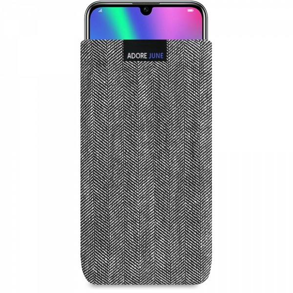 The picture shows the front of Business Sleeve for Honor 20 Honor 20 Pro and Honor 10 LITE in color Grey / Black; As an illustration, it also shows what the compatible device looks like in this bag