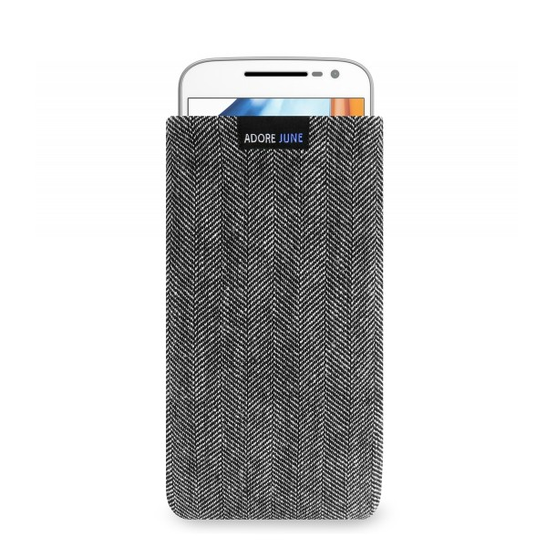 The picture shows the front of Business Sleeve for Motorola Moto G4 and Moto G4 Plus in color Grey / Black; As an illustration, it also shows what the compatible device looks like in this bag
