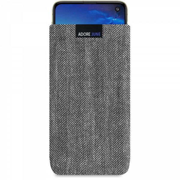 The picture shows the front of Business Sleeve for Samsung Galaxy S10e in color Grey / Black; As an illustration, it also shows what the compatible device looks like in this bag